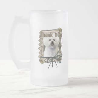 Thank You - Stone Paws - Bichon Frise 16 Oz Frosted Glass Beer Mug