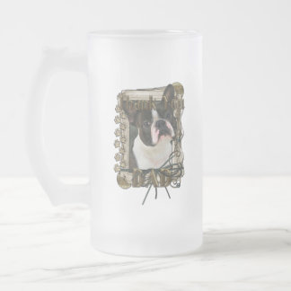 Thank You - Stone Paws - Boston Terrier - Dad Frosted Glass Mug