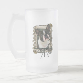 Thank You - Stone Paws - Boston Terrier Frosted Glass Mug