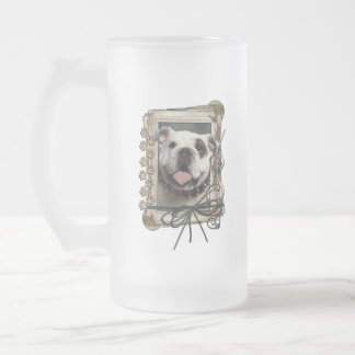 Thank You - Stone Paws - Bulldog Frosted Glass Mug