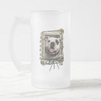 Thank You - Stone Paws - Bulldog Frosted Glass Mug