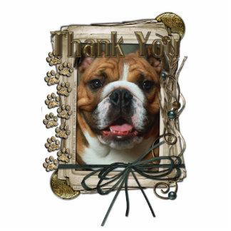 Thank You - Stone Paws - Bulldog Standing Photo Sculpture