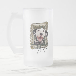 Thank You - Stone Paws - Dalmatian Frosted Glass Beer Mug