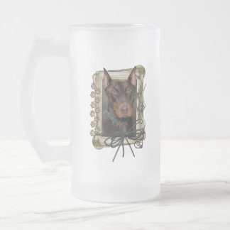 Thank You - Stone Paws - Doberman - Red - Rocky Frosted Glass Beer Mug