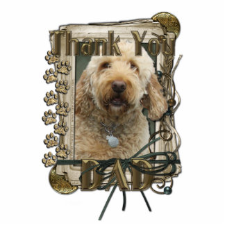 Thank You - Stone Paws - GoldenDoodle - Dad Standing Photo Sculpture