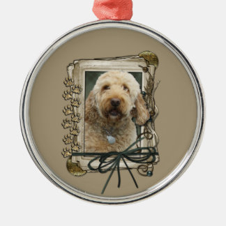 Thank You - Stone Paws - GoldenDoodle Metal Ornament