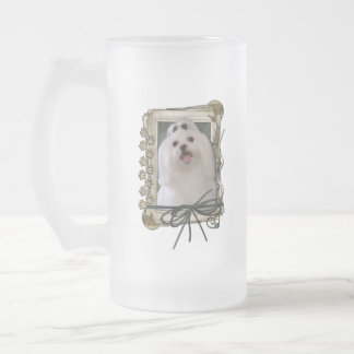 Thank You - Stone Paws - Maltese Frosted Glass Beer Mug