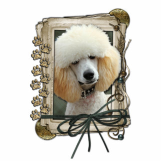 Thank You - Stone Paws - Poodle - Apricot Standing Photo Sculpture