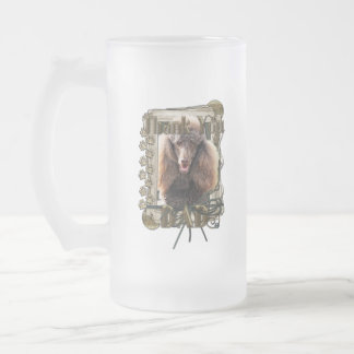 Thank You - Stone Paws - Poodle - Chocolate - Dad 16 Oz Frosted Glass Beer Mug