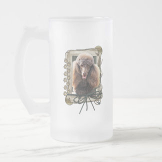 Thank You - Stone Paws - Poodle - Chocolate Frosted Glass Mug