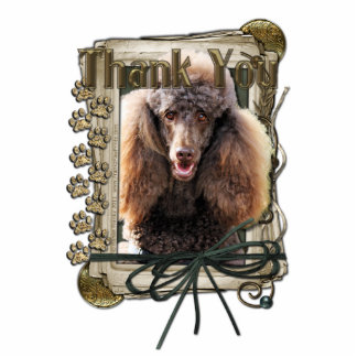 Thank You - Stone Paws - Poodle - Chocolate Standing Photo Sculpture