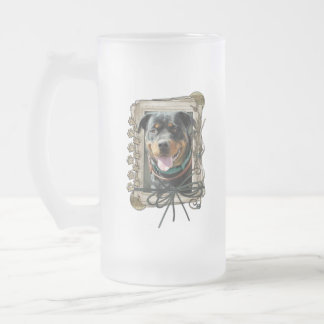 Thank You - Stone Paws - Rottweiler - SambaParTi Frosted Glass Beer Mug