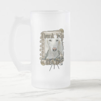 Thank You - Stone Paws - Saluki - Dad 16 Oz Frosted Glass Beer Mug