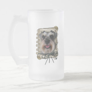 Thank You - Stone Paws - Schnauzer Frosted Glass Beer Mug