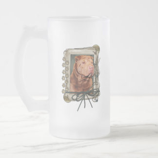 Thank you - Stone Paws - Shar Pei - Lucky Frosted Glass Beer Mug