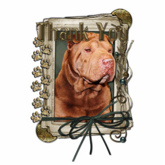 Thank You - Stone Paws - Shar Pei - Lucky Standing Photo Sculpture