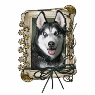 Thank You - Stone Paws - Siberian Husky Standing Photo Sculpture