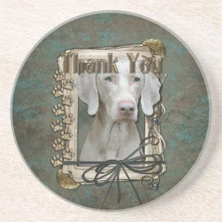 Thank You - Stone Paws - Weimeraner Drink Coaster