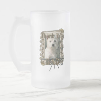 Thank You - Stone Paws - West Highland Terrier Dad Frosted Glass Mug