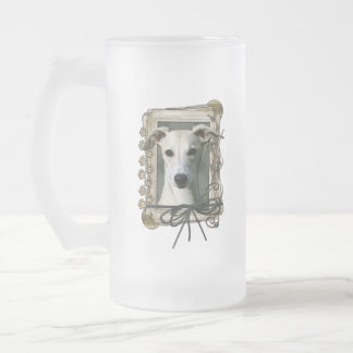 Thank You - Stone Paws - Whippet Frosted Glass Mug