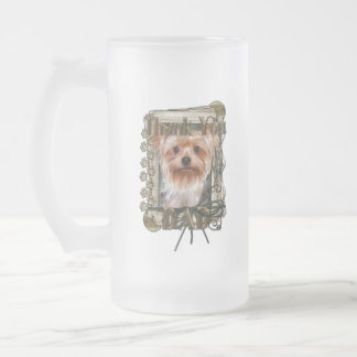 Thank You - Stone Paws - Yorkshire Terrier - Dad Frosted Glass Mug
