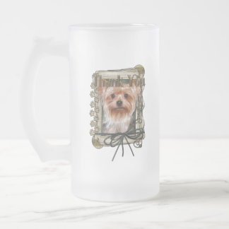Thank You - Stone Paws - Yorkshire Terrier Frosted Glass Beer Mug