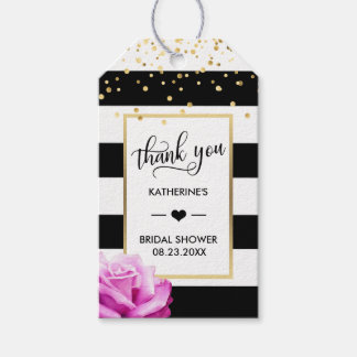 THANK YOU Stripes Pink ROSE Heart Bridal Shower Gift Tags