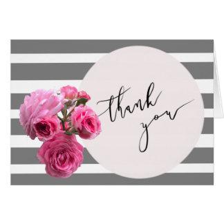 Thank You Summer Romance Rose Bouquet /Pink Circle Card