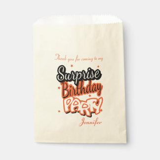 Thank You Surprise Birthday Party   Orange Favour Bags
