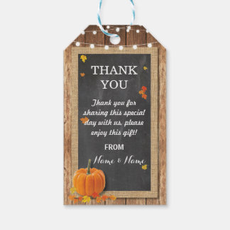 Thank you Tag Favour Tags Pumpkin Chalk Wedding