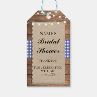 Thank you Tag Favour Wood Blue Check Bridal Shower