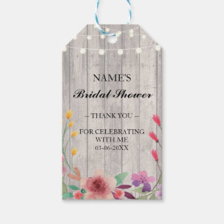 Thank you Tag Favour Wood Floral Bridal Shower