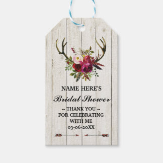 Thank you Tag Floral Favour Antlers Bridal Shower