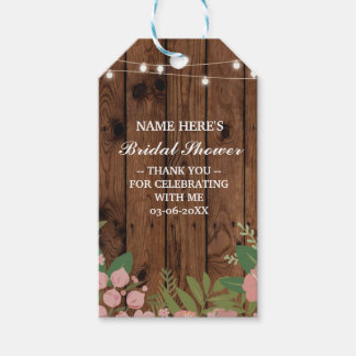 Thank you Tag Floral Favour Wood Bridal Shower
