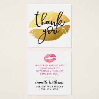 THANK YOU TAG hand lettering simple bold lips kiss