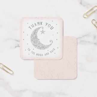 Thank You Tag Twinkle Little Star Baby Shower Pink Square Business Card