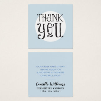 THANK YOU TAG vintage lettering simple spot blue