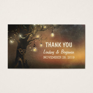 thank you tag with string lights mason jar tree
