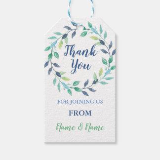 Thank You Tags Aqua Leaf Wreath Wedding