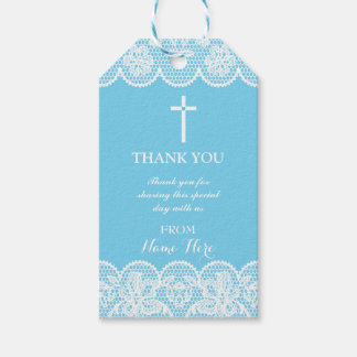 Thank you Tags Favour Blue Lace Cross Religious