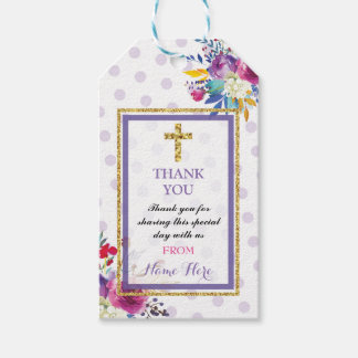 Thank you Tags Favour Floral Gold Cross Religious