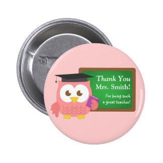 Thank you Teacher Appreciation Day Cute Pink Owl Pinback Button