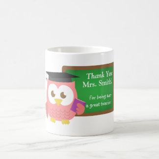 Thank you, Teacher Appreciation Day, Cute Pink Owl Basic White Mug