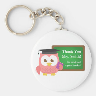 Thank you, Teacher Appreciation Day, Cute Pink Owl Key Ring