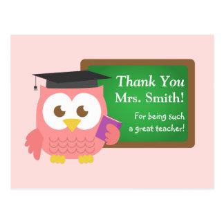 Thank you, Teacher Appreciation Day, Cute Pink Owl Postcard