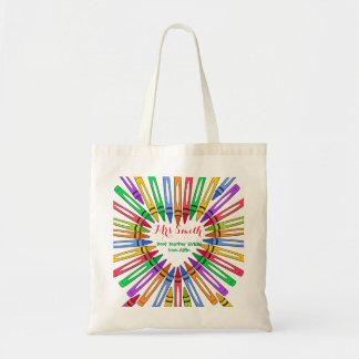 Thank you teacher big heart crayon gift tote bag
