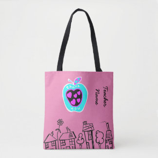 Thank you Teacher Gift apples pink Personalized Tote Bag