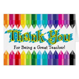 Thank You Teacher Rainbow Crayons Greeting Card