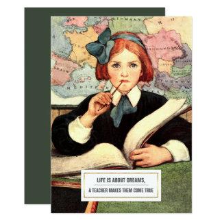 Thank You, Teacher.  Vintage Art  Flat Cards