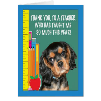 Thank You Teacher With Puppy And School Supplies Card
